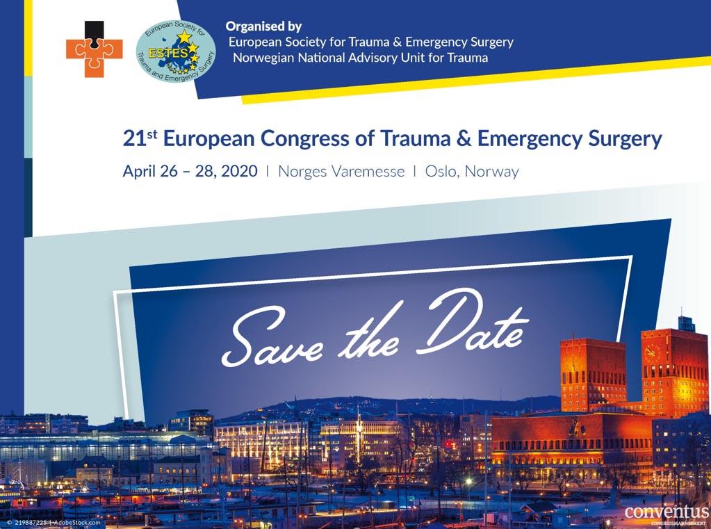 Το 21ο Ευρωπαϊκό Συνέδριο Χειρουργικής Τραύματος & Επείγουσας Χειρουργικής διοργανώνεται από την Conventus Congressmanagement & Marketing GmbH και θα πραγματοποιηθεί από τις 26 έως 28 Απριλίου 2020 στο Norges Varemesse του Όσλο της Νορβηγίας.